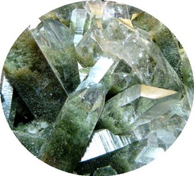 Cuart cu Clorit - Chlorite Quartz - Sagenitic Quartz