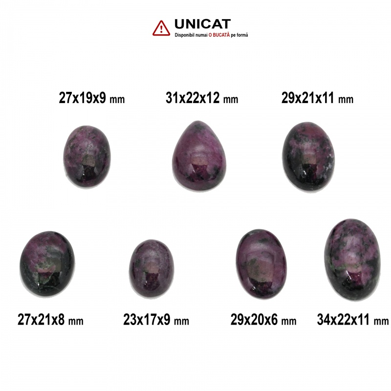 Cabochon Rubin in Zoisit 23-34 x 17-22 x 6-11 mm - Unicat