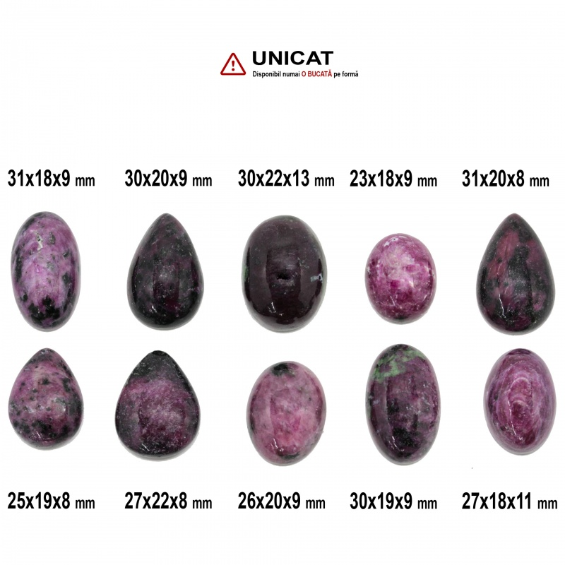 Cabochon Rubin in Zoisit 23-31 x 18-22 x 8-13 mm - Unicat