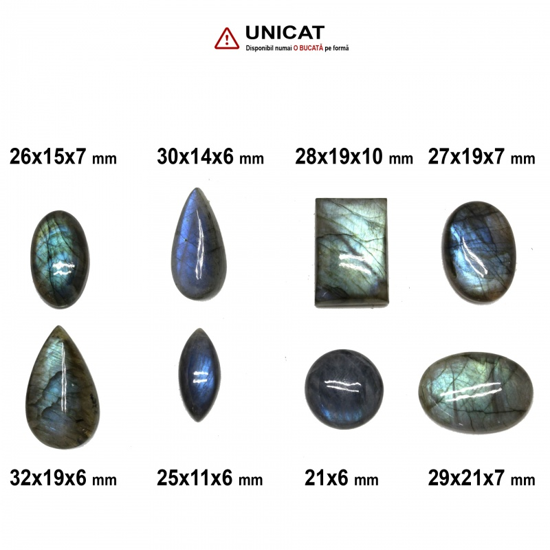 Cabochon Labradorit 21-32 x 11-21 x 6-10 mm - Unicat