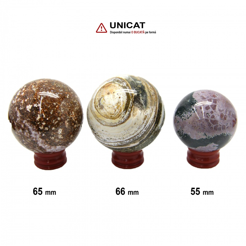 Sfera Jasp Oceanic Mineral Natural 55-66 mm - 1 Buc