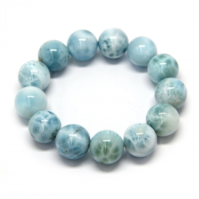 Bratara Milky Larimar Diametru 56 mm din Margele Rotunde - 16 x 16 mm