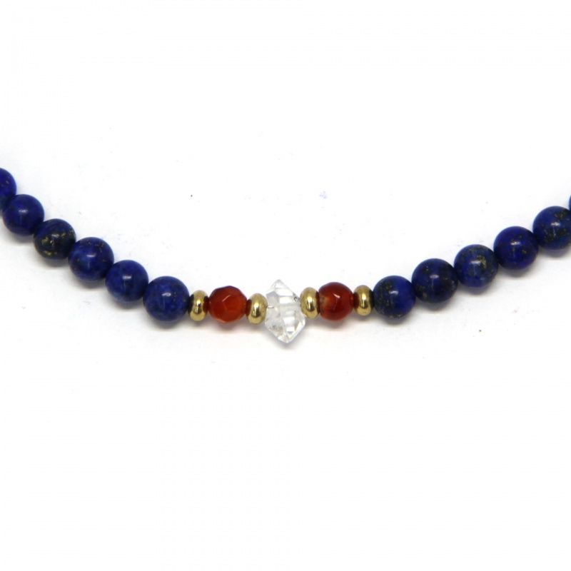 Colier din Lapis Lazuli si Carneol Rotund Fatetat - Diamant Herkimer - Inchizator Gold Filled