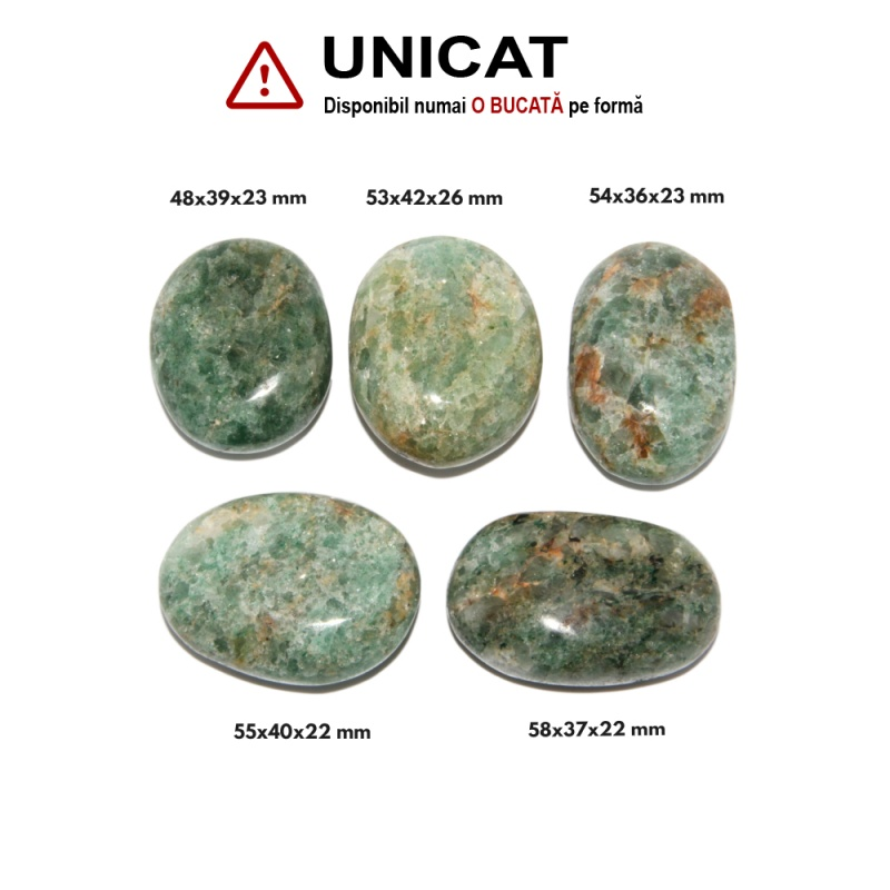 Palm Stone Apatit Verde Oval - 48-58 x 36-42 x 22-26  mm