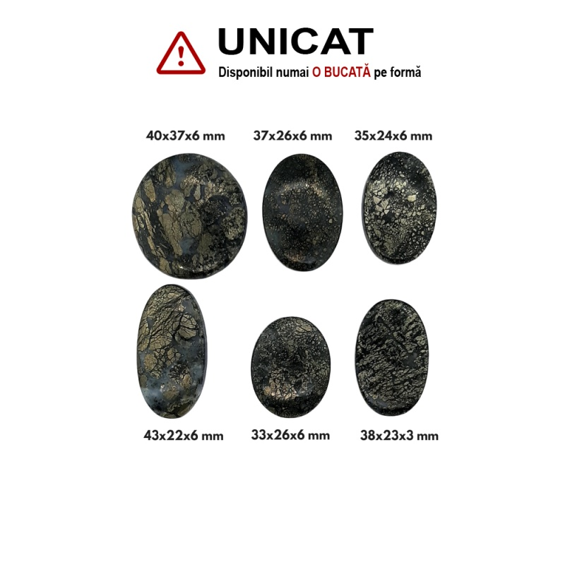 Cabochon Marcasit Oval - 33-40x22-37x3-6 mm