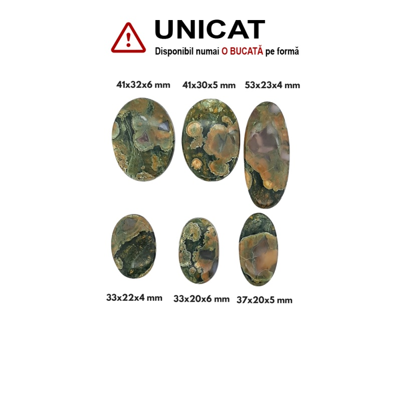 Cabochon din Jasp Forest Oval - 33-41 x 20-32 x 4-6 mm