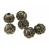 Margele din metal placat rotund neregulat 13x14 mm
