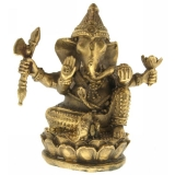 Zeul-elefant Ganesha pe floarea de lotus 75 mm