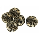 Margele din metal placat rotunde 18 mm, relief decorativ - 2 Buc