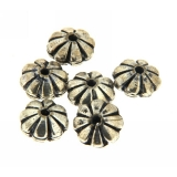 Margele din metal placat disc 6 x 10 mm, relief floare - 11 Buc