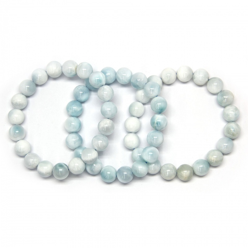 Bratara Milky Larimar - Larimar Laptos Diametru 58 mm din Margele Rotunde 11-11,9 mm
