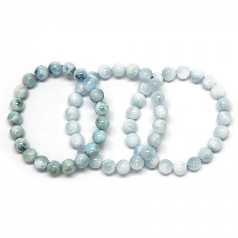 Bratara Milky Larimar Diametru 54 mm din Margele Rotunde 9-9,9 mm