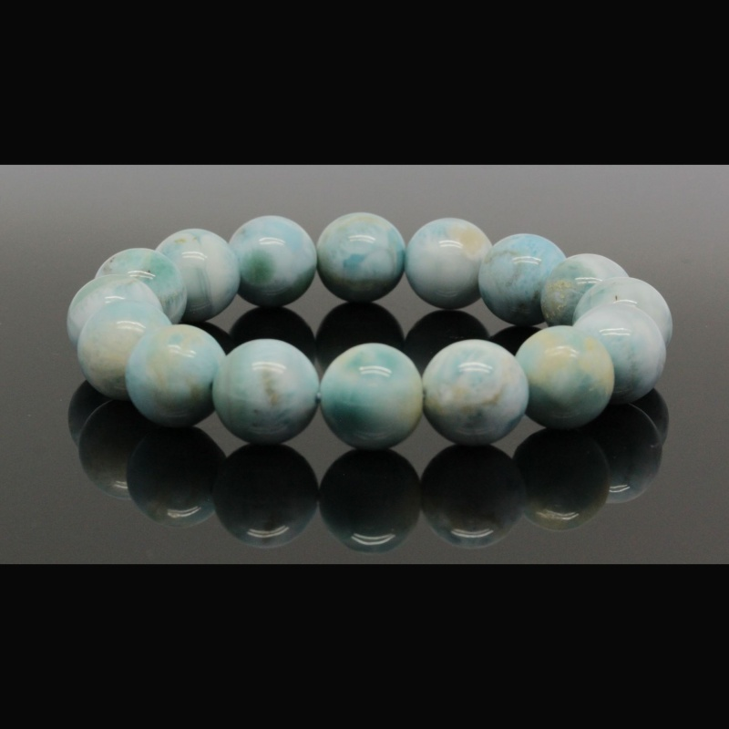 Bratara Larimar Unicat Rotunda 13 mm, Diametru 59 mm