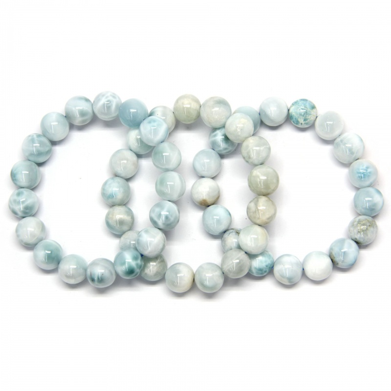 Bratara Milky Larimar  Diametru 58 mm din Margele Rotunde - 12-12,9 mm