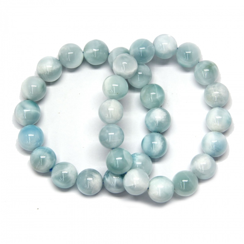 Bratara Milky Larimar  Rotunda 14 mm, Diametru 64 mm